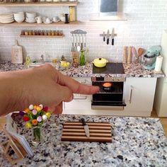 Baking cake #miniature #kitchen #dollhouse #oneinchscale #handmade #handmademiniaturesbyalma