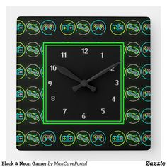 Black & Neon Gamer Square Wall Clock Black Neon, Wall Clocks, Wallpaper S, Wall Murals, Keep It Cleaner, Portal, Colorful Backgrounds, Party Supplies, I Shop