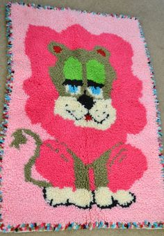 2`X3`Baby Pink Lion Accent Rugs Soft Plush New handmade baby Girls hook rug #ClassicSafari #ShagFlokati