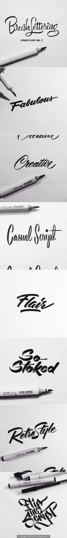 Brush Lettering Collection No. 1 is an exploration of achieving different brush script lettering styles using one writing instrument - a Copic Sketch marker   Designer: Neil Secretario
