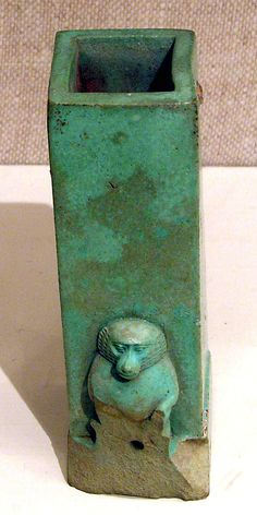 Clepsydra or water clock, faience. Egypt, 4th century BCE. One of the earliest known time-keeping devices, water clocks had inner markings which revealed time passed as water ran out of them.