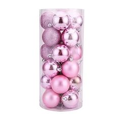 Leoy88 24pcs Christmas Balls Xmas Tree Decorations Pink 5CM ** Click image to review more details.