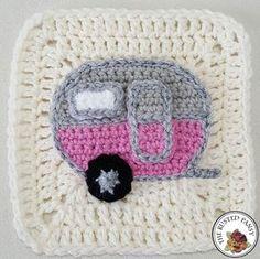 Woodland Themed Afghan – Vintage Camper Applique Vintage Camper Applique - free crochet pattern at The Rusted Pansy.Vintage Camper Applique - free crochet pattern at The Rusted Pansy. Crochet Motifs, Crochet Blocks, Granny Square Crochet Pattern, Crochet Squares, Crochet Stitches, Granny Squares, Crochet Granny, Crochet Appliques, Granny Granny