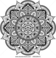 mandala, zentangle inspired illustration, black and white - stock vector