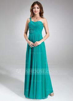 Bridesmaid Dresses - $122.99 - A-Line/Princess One-Shoulder Floor-Length Chiffon Bridesmaid Dress With Ruffle Beading Flower(s) (007016847) http://jjshouse.com/A-Line-Princess-One-Shoulder-Floor-Length-Chiffon-Bridesmaid-Dress-With-Ruffle-Beading-Flower-S-007016847-g16847?ver=xdegc7h0