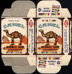 Swell - Magic Colors - Camel bubble gum cigarettes - could you imagine giving a child candy cigarettes today ! My Childhood Memories, Great Memories, Kitsch, Vintage Candy, I Remember When, Oldies But Goodies, Old Ads, My Memory, The Good Old Days