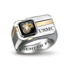 """""""For My Marine"""" Sterling Silver And Black Onyx Men's Ring by The Bradford Exchange Bradford Exchange. $149.00. As a final touch, this Marine Corps ring is presented in a custom case with a special """"For My Marine"""" sentiment card that includes a touching poem; This USMC ring is individually crafted of solid sterling silver in an original design with sleek lines; The Marine Corps ring is finely engraved with USMC on the front and SEMPER FI inside; Bold Marine Corps ring f..."""
