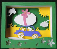 Traveling Bunny with egg tunnel book card