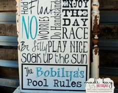 Pool Sign Swimming Pool Sign Personalized Pool Sign Patio