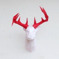 DIY Papercraft Deer Head Sculpture Pre-cut papercraft kit   Etsy Paper Glue, Deer Antlers, Color Mixing, Sculptures, Kit, Handmade Gifts, Etsy, Collection, Deer Horns