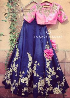 Falling in love with this beautiful lehenga by Suruchi Parakh Such delicate and detailed zardosi handwork all over the skirt and blouse and pretty little latkans make this piece is so lustrous and rich.
