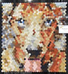 """""""Mickey Blue Eyes"""" by Julia C. Wood (Alabama).  Made with 1300 hand-pieced hexagons. 2014 AQS show, award sponsored by AccuQuilt.  Photo by Quilt Inspiration."""