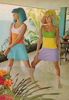 """""""Minidresses from St.Tropez in cotton knit (Bloomingdale's, $10) are photographed in the living room of the warren Avis house. The wigs, made of Dynel (Tovar Tresses, $40), are an instant solution to after-swim hair problems."""" Photo (detail) by HOWELL CONANT for Life Australia April 3rd 1967. (minkshmink)"""