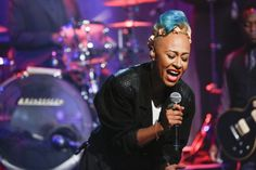 "Emeli Sandé proves she knows a little something about the blues during a performance on ""Late Night With Jimmy Fallon"" on Nov. 6 in New York"