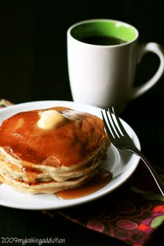 Banana pancakes.. made these this morning. (I added extra vanilla and cinnamon) Easy to make and tasty!