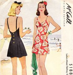 Vintage 1940s swimsuit / playsuit sewing pattern by glassoffashion