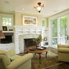 small square tile  Traditional Living tile fireplace surround Design Ideas, Pictures, Remodel and Decor