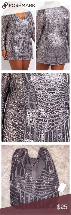 Dark Grey Sequin Romper Brand new w/ tags bought at reg. Price 2months ago for my 20th class reunion it's to big. My loss your gain! Metallic sequins collect into the prettiest geometric pattern on this shimmery mesh romper! Long sleeves frame a deep V-neckline, while classic pleats flare into relaxed shorts below. Zipper in back seals the deal! Being Curvy we have to shop early!  ❌NO TRADES OR NO PP❌NO OFFERS❌ Charlotte Russe Pants Jumpsuits & Rompers