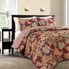 Lauren Reversible Quilt Set in Red - BedBathandBeyond.com
