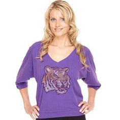 LSU Tigers Women's Jewel Fashion V-Neck Top - Purple