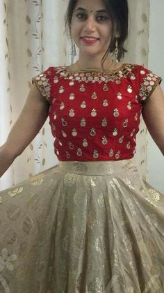 Children and Young Half Saree Designs, Fancy Blouse Designs, Bridal Blouse Designs, Blouse Neck Designs, Indian Fashion Dresses, Indian Gowns Dresses, Designer Anarkali Dresses, Designer Dresses, Mirror Blouse Design