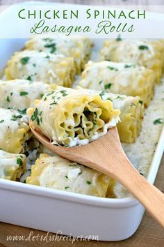 Chicken Spinach Lasagna Rolls | An easy but elegant pasta dinner #recipe