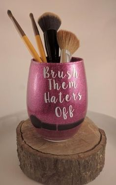 DIY Mug Decal Wake Up And Makeup Lipstick Lashes Makeup - Vinyl cup brush