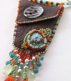 Beaded Medicine Bag with Turquoise by AniccaJewelry on Etsy, $145.00
