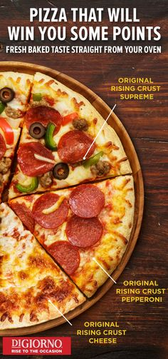 Score big with your friends and family with the great-taste of these three delicious, oven-fresh pizzas from DIGIORNO Pizza. From the big juicy slices of pepperoni to the insanely delicious mozzarella—get the fresh-baked taste of delivery pizza at home and own game nights forever.