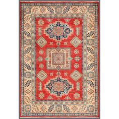 Afghan Hand-knotted Kazak Red/ Ivory Wool Rug (5'5 x 7'9) | Overstock.com $679.99