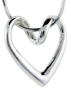 Flawless Sterling Silver Floating Heart, 13/16 in. X 13/16 in.