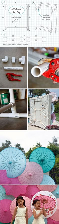 DIY Parasol Backdrop. Pinned by Afloral.com from http://asubtlerevelry.com/bright-umbrella-backdrop#more-37536