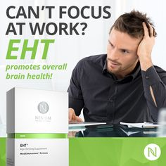 EHT® Age-Defying Supplement, Mind Enhancement Formula™, is a breakthrough supplement that features the patented EHT molecule and other key beneficial ingredients. Nerium has exclusive rights to the use of the EHT molecule. Each box contains a full supply. Brain Supplements, Anti Aging Supplements, Weight Loss Supplements, Focus At Work, Nerium International, How To Focus Better, Shops, Brain Health, Healthy Brain