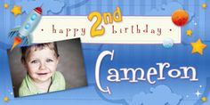 Aww what an adorable Blue, Rocket themed Personalized Banner. Cameron's birthday will be so cute! Personalized Happy Birthday Banner, Personalized Birthday Banners, Happy 2nd Birthday, Happy Birthday Banners, Car Banner, Princess Birthday, Birthdays, Outer Space, Party Ideas