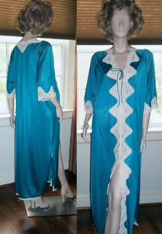 Jenelle of California Turquoise Long Nightgown w Sleeve Intricate Lace Negligee #JenelleofCalifornia