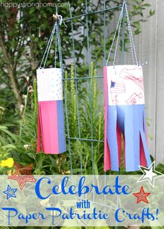 Celebrating with paper patriotic crafts is a great way to engage kids on a summer afternoon and brighten up a window, door, or home.