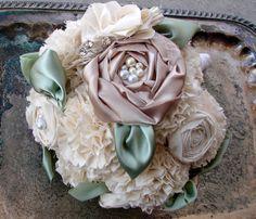 Fabric Flower Bouquet - Weddings, Wedding Flower Bouquet - Vintage Weddings, Fabric Bouquet with Rhinestones Wedding Accessory. $425.00, via Etsy.