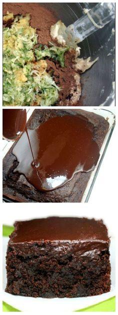 Triple Chocolate Sour Cream (or Greek Yogurt) Zucchini Cake - The moistest, fudgiest chocolate zucchini cake you will ever have! The chocolate ganache seeps into the cracks, making it even fudgier.