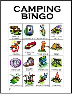 Second card in a series of 12 camping themed BINGO cards…