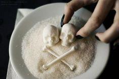 food decoration ideas, skull and bone shaped sugar cubes