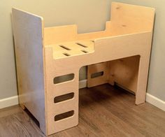 Easy to make toddler bed from two pieces of 3/4 ply-wood.
