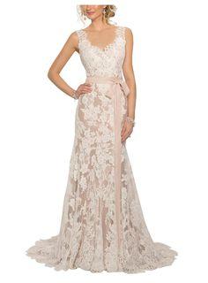Penipege Modern Vintage Open Back Wedding Dresses at Amazon Women's Clothing store: