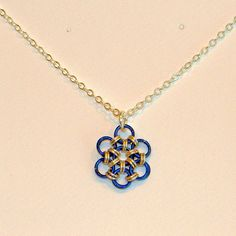 Blue Chainmaille Flower Pendant