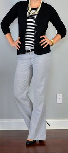 Grey slacks, striped babydoll tshirt, black cardi, patent leather mary janes, black belt, and pearls!