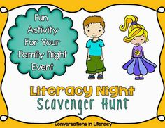 Literacy Night Scavenger Hunt - New and different idea!