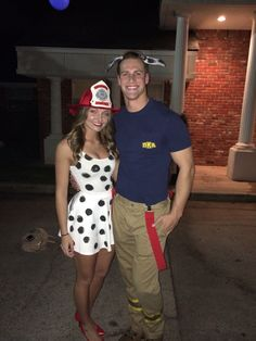 Dalmatian u0026 fireman Halloween costume. & DIY Funny Clever and Unique Couples Halloween Costume Ideas ...