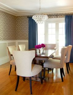wallpaper framed below chair rail. | for the home | pinterest