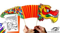 TEMPLATE for chinese new year printable dragon puppet http://krokotak.com/2012/01/idei-za-godinata-na-drakona/