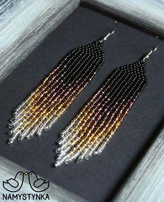 Gold beaded earrings Evening earrings Long earrings Native