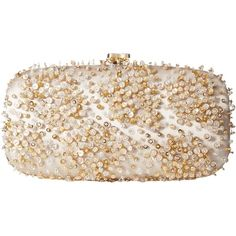 Oscar de la Renta Goa Mosaico (Ivory/Champagne Embroidered Satin)... ($765) ❤ liked on Polyvore featuring bags, handbags, clutches, yellow, embroidered purse, satin clutches, clasp purse, sequin handbags and yellow clutches